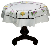 Xia Home Fashions Bouquet Embroidered Cutwork Spring Table Topper, 90cm by 90cm