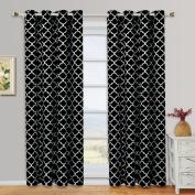 Meridian Black Grommet Room Darkening Window Curtain Panels, Pair / Set of 2 Panels, 130cm x 240cm Each, by Royal Hotel
