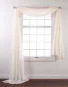 Stylemaster Renaissance Home Fashion Whisper Crushed Satin Scarf, 100cm by 550cm , Vanilla