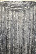 Luxury Leopard Shadow Stripe Sheer Scarf 40Wx216L Black