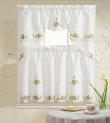 B & H Home Aster Floral Embroidered 3-Piece Kitchen Curtain Window Treatment
