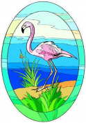 Tropical Pink Flamingo on Sand - Etched Vinyl Stained Glass Film, Static Cling Window Decal