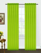 "A Pair of Green Sheer Rod Pocket Curtain Panels 55""x""84"