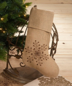 Jewelled Snowflake Burlap Design Holiday Natural Chirstmas Stocking, One Piece