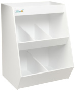 TrippNT 50074 White PVC Plastic Lab Storage Bin with 5 Fixed Compartments, 30cm Width x 41cm Height x 26cm Depth, 1 Shelf