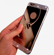 iPhone 5/5s Case, LA GO GO(TM) Beauty Luxury Diamond Hybrid Glitter Bling Soft Shiny Sparkling with Glass Mirror Back Plate Cover Case for Apple iPhone 5 5s 5g