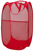 Mesh Pop-Up Laundry Hamper, Red - 36cm x 60cm - Easy to open and folds flat for storage. Hampers mesh material helps eliminate laundry odours and moisture. Great laundry hamper for college dorm.