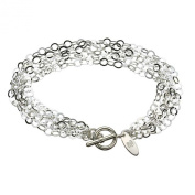 Multi-Strand Flat Round Sterling Silver Chain Toggle Bracelet Italy