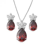 Simulated Garnet & Cz Flower Pendant Necklace & Earring Jewellery Set Solid .925 Sterling Silver