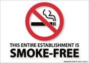 "NMC M717R No Smoking Sign, Legend ""THIS ENTIRE ESTABLISHMENT IS SMOKE-FREE"" with Graphic, 25cm Length x 18cm Height, Rigid Polystyrene Plastic, Red/Black on White"