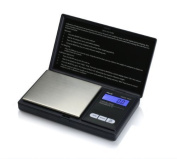 American Weigh Scales AWS-1KG-BLK Signature Series Black Digital Pocket Scale, 1000 by 0.1 G, With Seaside 500 Gramme Stainless Steel Calibration Weight