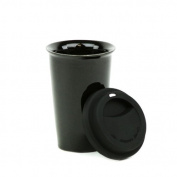 Eco 330ml Ceramic Double Wall Thermal Coffee Tumbler w/ Silicone Lid - Black