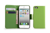 32nd Wallet Book PU Leather Cover Case with Screen Protector, Cloth and Stylus Pen for Apple iPhone 5/5S - Green