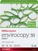 Office Depot EnviroCopy 30% Recycled Copy Fax Laser Inkjet Printer Paper, 22cm x 28cm Letter Size, 9.1kg., 92 Bright White, Acid-Free, FSC Certified, Ream, 500 Total Sheets