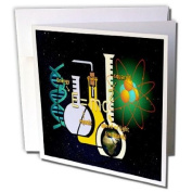 3dRose Greeting Cards, 15cm x 15cm , Pack of 6, Print of Science Setup with Flask and Equations