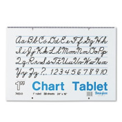 Chart Tablets w/Cursive Cover, Ruled, 24 x 16, White, 30 Sheets, Sold as 1 Each
