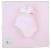 Tuppence and Crumble fleece Newborn Hat and Blanket Set Pale Pink