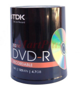 100 TDK Gold DVD-R 4.7GB Blank Recordable Discs 16x 100 Pack Spindle