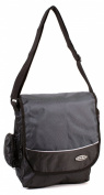 HB-S-02 Black Grey Messenger Unisex School Shoulder Bag with Organiser Section