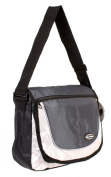 HB-S-01 Black Grey Messenger Unisex School Shoulder Bag with Organiser Section