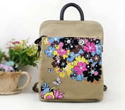 . Canvas backpack with oriental painting