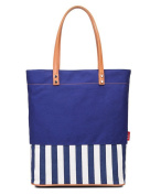 Fortuning's JDS® Simple style contrast colour stripes style canvas tote handbag