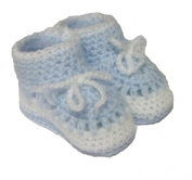 Cute Blue Knitted Booties With White Bow Detailing - One Size
