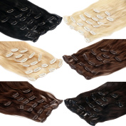 Clip In Extensions Remy Human Hair 20 inch 50 cm hair length - 8 braids set - different colours available - XXL Set, Colour:#22 gold blonde - 2505