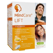 MindCare LIFT, stay happy food supplement - high strength omega-3 wild fish oil, magnesium, 5-HTP & multivitamins for mood balance and support for brain function and neurotransmitter production, 30 omega-3 + 30 micronutrient capsules