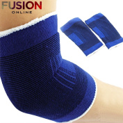 2 x ELASTICATED ELBOW SUPPORT SLEEVE BANDAGE ARM BRACE WRAP GUARD TENNIS GYM NEW Fusion