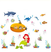 Moolecole Underwater World Wall Stickers Shark Mermaid Wall Stickers Children's Bedroom Wall Paper Nursery decoration Wall stickers Wall Poster