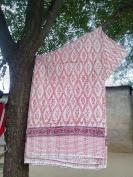 HANDICRAFTOFPINKCITY Single Size kantha Quilt Hand Made Block Print Kantha Blanket Block Print Throw