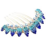 Ecloud Shop® Shiny Fashion Blue Flowers Rhinestone Crystal Hair Combs Hairpin