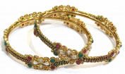 Shingar Jewellery Ksvk Jewels Women's Antique Gold Plated Polki Kundan Bangles Set In 2.6 Size