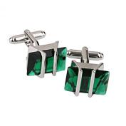Green Rhinestone Decorated Cufflinks Men's Cuff Links Birthday Gift