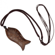Vintage Wooden Lucky Fish Pendant Necklace Artificial Leather Strap Brown