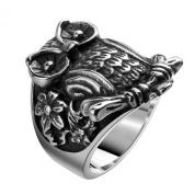UM Jewellery Vintage Mens Biker Ring Titanium Stainless Steel Owl Animal Band Black Silver