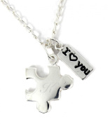 Engraved Sterling Silver Jigsaw Puzzle Charm Necklace