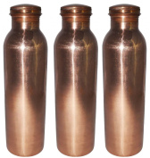Pure Copper Water Bottle Jointless Leak Proof Thermos with Lid Set of 3