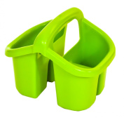 Apple Green Plastic 4 Compartment Sink Tidy Cutlery Drainer Filter Caddy with Handle