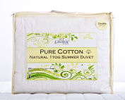 Lancashire Textiles Natural 100% Pure Cotton Filling and Cover 1 Tog Summer Weight Double Duvet