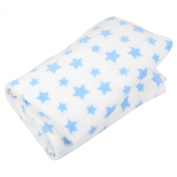 White With Blue Stars Microfleece Blanket Home Sofa Bed Fleece Throw 150x200cm