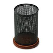 Sanford Rolodex Distinctions Jumbo Metal & Wood Pencil Cup, 10cm - 1.3cm Diameter x 15cm - 1.3cm , Black/Cherry