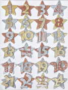 Advent Calendar Numbers with Stars gold - 1-24 Creapop 3270101 Wooden Silver