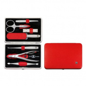 Henckels Twinox Manicure Set Dauphine Red- Z Comp. 7 Pieces- Combs- Nail Cleaner- Tweezers- Nn- File- Di- I