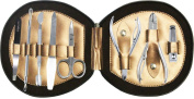 Professional Manicure & Pedicure 8 Piece Stainless Steel kit set in Rexine Leather Bronze Case Ideal as a Gift or as a Travel Aid