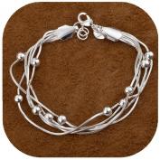 HMILYDYK Simple Chain Silver Bracelet Rope 925 Silver Ball Drop Bangle