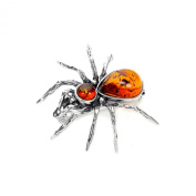 Sterling Silver & Baltic Amber Spider Brooch / Brooches
