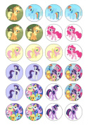 24 Precut My Little Pony 40mm circle Edible Wafer Paper Cake Toppers