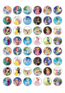 48 Mixed Princess Edible Cupcake Toppers